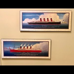 Other - 1900's Ocean Liners- Nautical art-blue, black, red